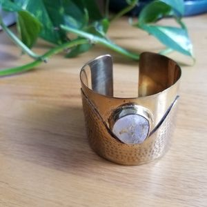 Brass bangle with crystal